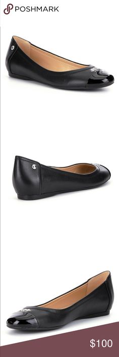 COACH CHELSEA FLAT A glossy, patent leather cap toe amps up an understated ballet