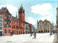 Basel Switzerland art print from an original by AndreVoyy on Etsy