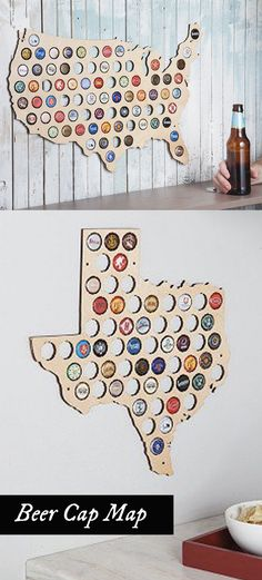 Beer Cap Trap creates laser-cut wooden wall maps made to display the caps of…
