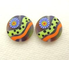 Colorful & Bright Etched Murrini Spree Lentils by imakebeads, $10.00
