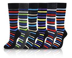 ICONOFLASH Men s Cotton Blend Pattern Dress Socks 6 Pair Bundle Pack Bold Stripes Size 1013 -- To view further for this item, visit the image link.