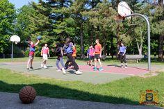 Basketball in the yard.