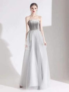 Gray party dress strapless evening dress backless long prom dress tulle formal dress