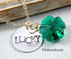 Lucky Four Leaf Clover Necklace With Sterling by Kikiburrabeads