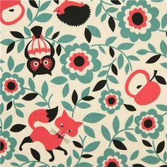 off-white oxford animal fabric fox owl hedgehog Cosmo