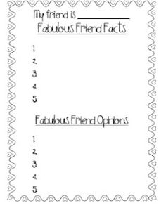 Cute idea for classroom community building and/or also teaching fact and opinion.