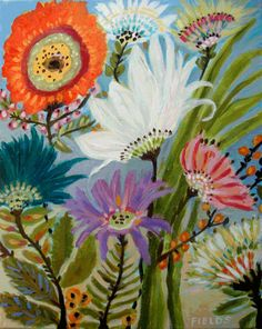 Whimsical Abstract Flowers Art Print  by by karenfieldsgallery, $18.00