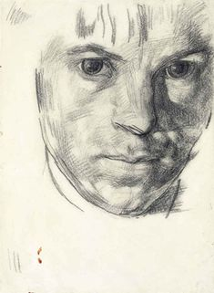 """Stanley Spencer self-portrait drawing, 1914. From """"100 Self-Portrait Drawings from 1484 to Today"""""""