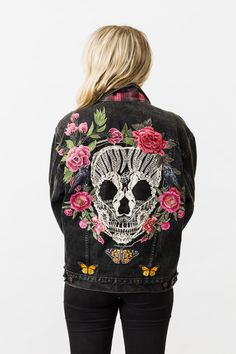 Denim and Bone skull embroidered vintage denim jacket