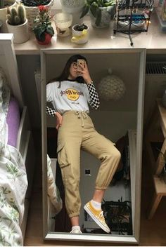 E girl Hair Rock Cafe shirt Striped shirt layered Goth outfit Tan cargo long pants Yellow Vans Asian girl Round glasses Long black straight banged hair Grunge Outfits, Edgy Outfits, Mode Outfits, Retro Outfits, Fall Outfits, Vintage Outfits, 80s Fashion, Look Fashion, Vintage Fashion