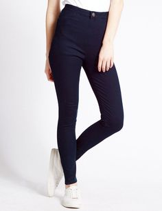 New LADIES WOMEN HIGH WAISTED SEXY SKINNY JEANS PANTS SIZE 6 8 10 12 14 16