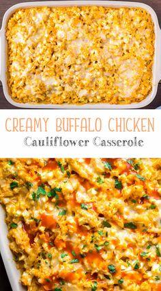 Creamy Buffalo Chicken Cauliflower Casserole | Chef Profesional Meat Recipes, Low Carb Recipes, Chicken Recipes, Cooking Recipes, Healthy Recipes, Healthy Junk, Healthy Cooking, Healthy Eating, Chicken Cauliflower
