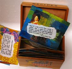 Great idea! Take index cards, art journal or do collage on each card, then store them in a recipe box in a spot you can look at or through them everyday. Kinda like one of those motivational flip-daily-calendars you keep on your desk. I can see doing a scripture verse with art/collage background! I'm excited!