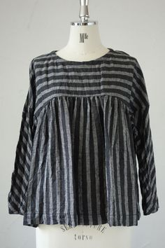 Crumpled black and grey linen stripes, lovely.
