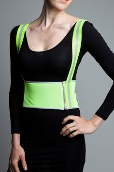 Vespertine NYC GOGO DIRNDLE Citron -- I hope all the money I save by cycling will allow me to own some incredible Vespertine items like this! Safety Clothing, Bike Wear, Cycle Chic, Fashion Capsule, High Fashion, Nyc, Lady, Swimwear, Cycling