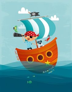 Vector illustration of a little pirate at sea