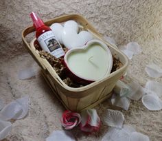 Gift Basket full of handmade items from Black Willow Soaps! 1 Victorian Vanilla Creme Candle in Ceramic Heart, 2 Orchid scented heart shaped shea butter soaps, and frosted strawberry body spray!