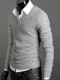 Basic sweater over a button up. Classic look.