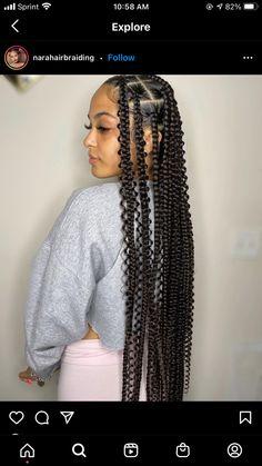 Big Box Braids Hairstyles, Braided Hairstyles For Black Women Cornrows, Braids Hairstyles Pictures, African Braids Hairstyles, Baddie Hairstyles, Black Girls Hairstyles, Pretty Hairstyles, Curly Braids, Black Girl Braids