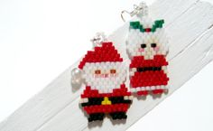 Beaded Santa Claus and Mrs Claus Earrings, Brick Stitch Bead Weaving with Miyuki Delica seed beads.