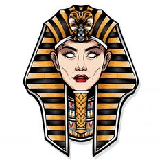 Cleopatra Tattoo, African Logo, Egyptian Drawings, Zeus Tattoo, Egypt Tattoo, Frida Art, Abstract Face Art, Alien Tattoo, Egypt Art