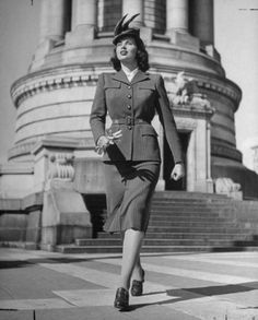 Classic Suit, Confident Stride #1940s #fashion #women #suit