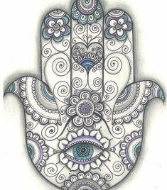 Print created from an original drawing by Daniela Ruseva- Dhana. Hamsa hand Print, Hand of Fatima Door Blessing Print, Door Blessing Drawing, Mehr Hamsa Hand Tattoo, Hand Tattoos, Hamsa Art, Body Art Tattoos, Tattoo Drawings, Mandala Art, Mandala Nature, Image Mandala, Hamsa Design