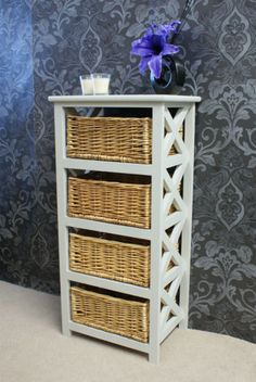 Gloucester Petite 4 Drawer Storage Chest Rattan Wicker Basket Drawers  Tallboy