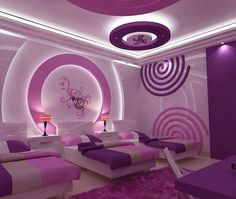 Purple modern hotel room