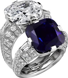 CARTIER. Ring - platinum, one 15.06-carat cushion-shaped sapphire from Kashmir, one 10.00-carat D IF type IIa cushion-shaped diamond, tapered diamonds, brilliant-cut diamonds. The two rings can be worn together or separately. #Cartier #CartierMagicien #HauteJoaillerie #FineJewelry #Diamond #Golconda #KashmirSapphire