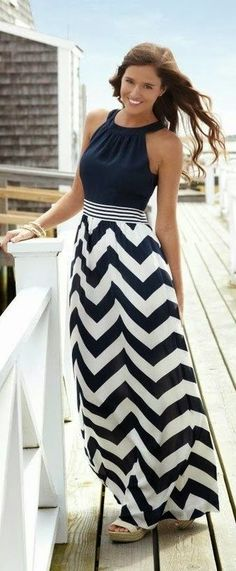 Sleeveless Neck Hold Chevron Maxi Dress
