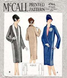 1920s 20s flapper coat vintage sewing pattern reproduction //
