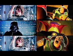 Luke/ Buzz: You killed my father!  Darth Vader/ Zorg: No, Luke/Buzz, I am you father.  Luke/ Buzz: Nooooooooooooooooooo