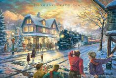 """There is nothing like an adventure through railroad travel with friends and family during the holidays. Take part in the excitement of the train arriving in Lionelvillle in the Thomas Kinkade Studio's image, """"All Aboard for Christmas"""".  For more information about this image please stop by your local Thomas Kinkade Gallery or online at https://thomaskinkade.com/art/all-aboard-for-christmas/?ref=13 #ThomasKinkade #Christmas #Lionel"""