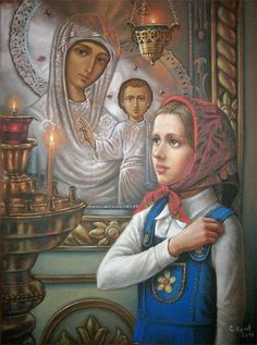 When your children are still small, you have to help them understand what is good. That is the deepest meaning of life.- St Paisios of Mt Athos. Religious Images, Religious Art, Prayer For Family, Biblical Art, Orthodox Icons, Russian Art, Conceptual Art, Our Lady, Christian Faith