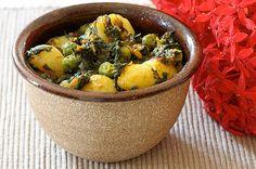 Vegetariancook: Картофель с горохом и шпинатом в восточно-индийском стиле