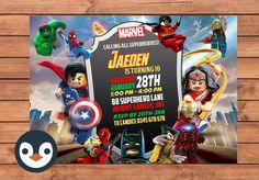 Invitación de Lego de superhéroe. Fiesta de cumpleaños del