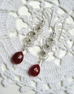 """Handmade filigree ruby earrings in Sterling Silver """"Just it is"""" by TuuliK"""