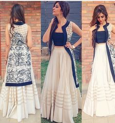 Indo western dresses for girls are a trending Outfit among girls and women. Adore the best indo western dresses for girls and ladies with us. Indian Attire, Indian Wear, Indian Outfits, Indian Style Clothes, Pakistan Street Style, Lehenga Designs, Indian Designer Wear, Pakistani Dresses, Party Wear
