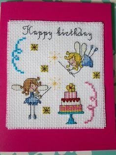 Cross Stitch Fairy and Cake Happy Birthday Card Blank Inside