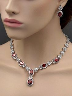 18K White Gold GP Ruby Red Zirconia CZ Necklace Earrings Wedding Jewelry Set