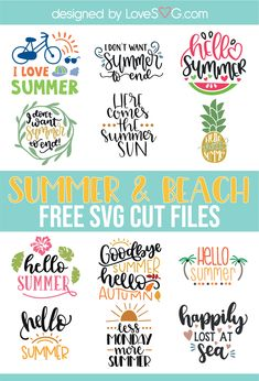 Free Summer and Beach SVG Cut Files The post Free Summer and Beach SVG Cut Files & Plotten appeared first on Free . Cricut Fonts, Cricut Vinyl, Svg Files For Cricut, Free Font Design, Marker, Cricut Tutorials, Cricut Ideas, Free Summer, Summer Beach