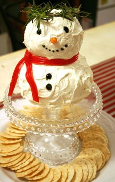 seriously love this :):) Cheese ball snowman. christmas party - cheese & crackers