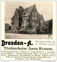 Original-Werbung/ Anzeige 1927 - TÖCHTERHEIM ANNA KRAUSE - DRESDEN - ca. 60 x 65 mm