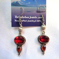 Bohemian Red Garnet Dangles in Sterling Silver- Garnet Earrings- Holiday Earrings- Sterling Silver Earrings- Boho- Beach- Red Gemstones by BathshebasJewels on Etsy