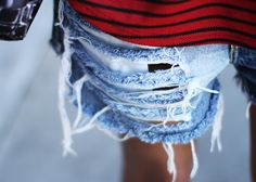 Can't travel without a pair of ripped denim cut-offs Ripped Shorts, Denim Cutoffs, Ripped Denim, Denim Fashion, Womens Fashion, Girly Outfits, Little Dresses, Signature Style, Dress Me Up