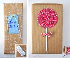 Geschenkverpackungen, Packpapier und Bäckergarn