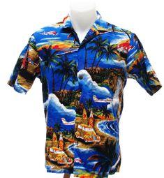 Royal Creations Aloha Hawaiian Surfboard Palm Tree Waterfall Woodie Shirt S #RoyalCreations #Hawaiian