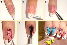 бабочки на ногтях акриловыми красками пошагово