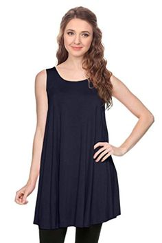 2fc6e779772771 Simlu Womens Basic Sleeveless Long A-Line Made in USA Tank Top Tunic Vest     Read more at the image link. (It is an affiliate link and I receive  commission ...